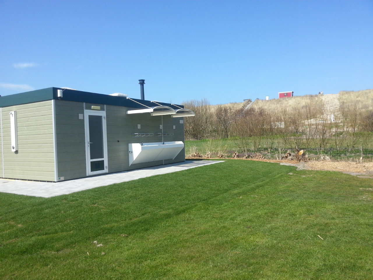 Camping in Domburg - sanitairunit op minicamping Noordduin