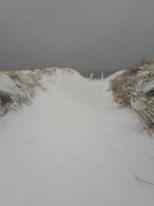 Vakantie in Domburg in de winter - sneeuw op duinen